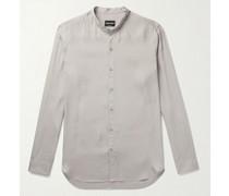 Grandad-Collar Striped Cotton and Silk-Blend Seersucker Shirt