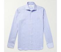 Cutaway-Collar Checked Linen Shirt