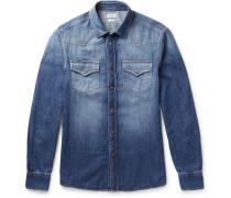 Washed-denim Western Shirt