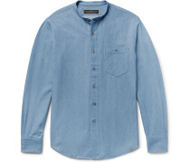 Slim-fit Grandad-collar Denim Shirt