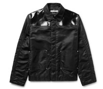 Slim-fit Faux Leather-panelled Shell Jacket