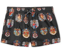 Slim-fit Short-length Printed Swim Shorts