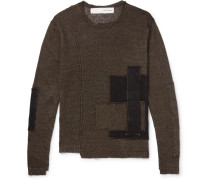Patchwork Distressed Linen Sweater