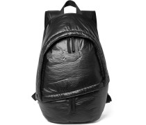 Leather-trimmed Coated-shell Backpack