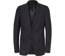 Navy Soho Slim-fit Wool And Silk-blend Jacquard Suit Jacket