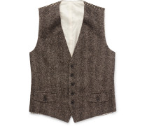 Herringbone Cashmere, Silk And Linen-blend Waistcoat