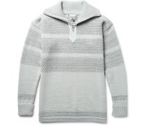 Fisherman Textured Virgin And Merino Wool-blend Half-zip Sweater