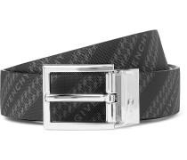 3cm Reversible Logo-Print Canvas and Leather Belt