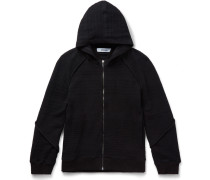 Knitted Cotton-blend Zip-up Hoodie