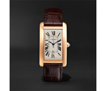Tank Américaine Automatic 45mm 18-Karat Pink Gold and Alligator Watch, Ref. No. CRW2609156