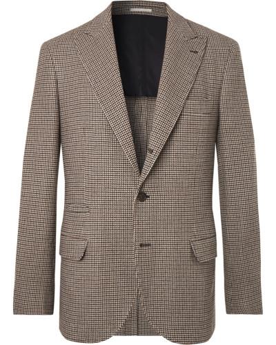 Brown Alessio Houndstooth Wool And Cashmere-blend Blazer - Brown