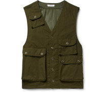 C-1 Slim-fit Cotton And Mesh Gilet