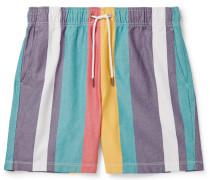 Striped Cotton Oxford Drawstring Shorts