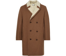 Double-breasted Embellished Faux Shearling-lined Wool And Mohair-blend Coat