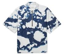 D Tie-dyed Cotton Half-zip Shirt