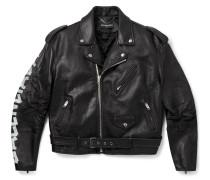 Printed Leather Biker Jacket