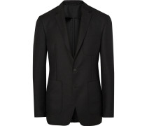 London Black Slim-fit Mohair And Wool-blend Hopsack Blazer