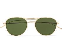 Cade Aviator-style Gold-tone Sunglasses