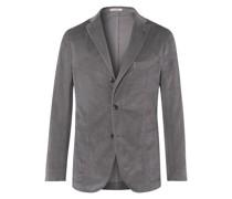 Kei Slim-Fit Unstructured Garment-Dyed Cotton-Velvet Blazer