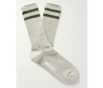 Schoolboy Striped Cotton-Blend Socks