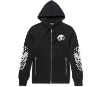 Embroidered Loopback Cotton-jersey Hoodie
