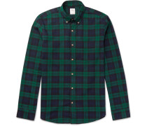 Slim-fit Button-down Collar Checked Cotton Shirt