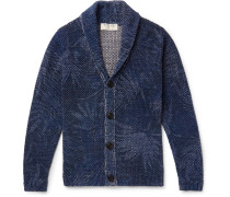 Shawl-collar Mélange Cotton And Linen-blend Cardigan