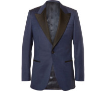 Blue Slim-fit Faille-trimmed Checked Wool Tuxedo Jacket