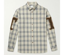 Button-Down Collar Chenille-Appliquéd Checked Cotton-Poplin Shirt