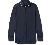 Penny-collar Contrast-trimmed Silk-twill Shirt
