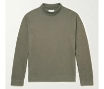 Natural-Dyed Cotton-Jersey Mock-Neck Sweatshirt