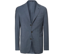Navy Slim-fit Garment-dyed Wool And Mohair-blend Suit Jacket