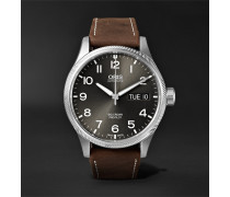 Big Crown Propilot Day-date Automatic 45mm Stainless Steel And Suede Watch