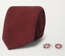 Silk and Wool-Blend Twill Tie and Sterling Silver, Sapphire and Enamel Cufflinks Set