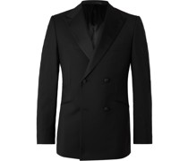 Slim-Fit Double-Breasted Grosgrain-Trimmed Wool and Mohair-Blend Tuxedo Jacket