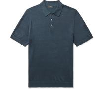 Linen-Blend Polo Shirt