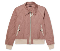 Leather-Trimmed Quilted Shell Bomber Jacket
