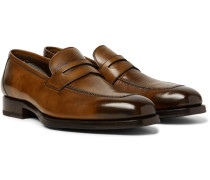 Wessex Burnished-leather Penny Loafers
