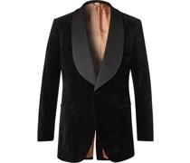Faille-Trimmed Cotton and Linen-Blend Velvet Tuxedo Jacket