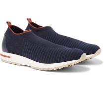 360 Flexy Walk Leather-Trimmed Knitted Wish Wool Slip-On Sneakers