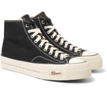Skagway Leather-Trimmed Canvas High-Top Sneakers
