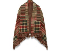 Fringed Wool-Blend Jacquard Poncho