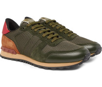 Valentino Garavani Rockrunner Mesh, Leather And Suede Sneakers