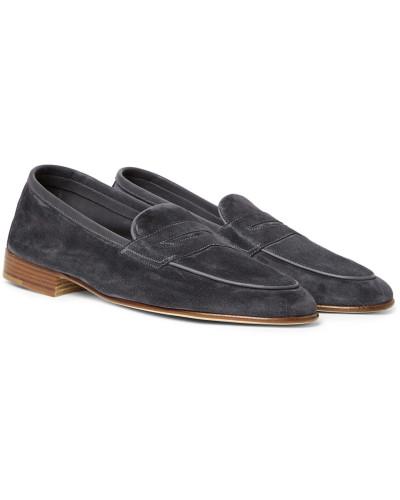 Polperro Nubuck-trimmed Suede Penny Loafers - Dark gray