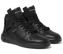 Wing Grosgrain-Trimmed Full-Grain Leather High-Top Sneakers