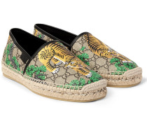 Leather-trimmed Printed Coated-canvas Espadrilles