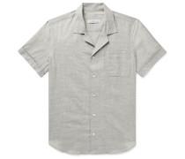 Maylen Camp-Collar Basketweave Cotton Shirt
