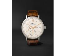 Portofino Hand-Wound Eight Days 45mm Stainless Steel and Alligator Watch, Ref. No. IW510103