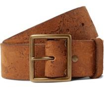 4.5cm Logo-Debossed Distressed Leather Belt