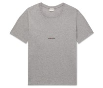 Slim-Fit Logo-Print Mélange Cotton-Jersey T-Shirt